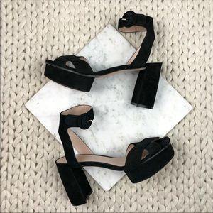 Stuart Weitzman Black Suede Platform Sandal Heels
